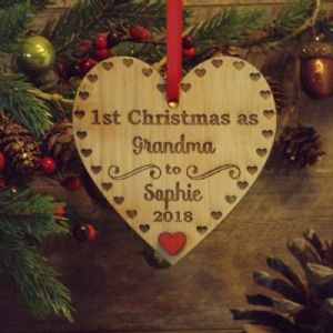 1st First Christmas as Nanny, Grandad, Grandparent, Personalised Heart Decoration Gift